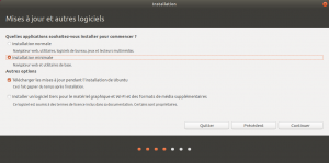 L'option d'installation minimale est disponible.